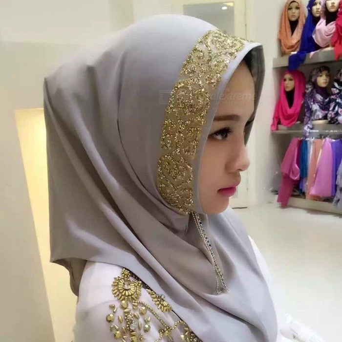 Stylish Muslim Rrhinestone Decoration Headdress Head Cover for Women