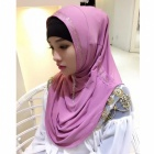 Muslim Rrhinestone Decoration Stylish Headdress Head Cover for Women - Pink