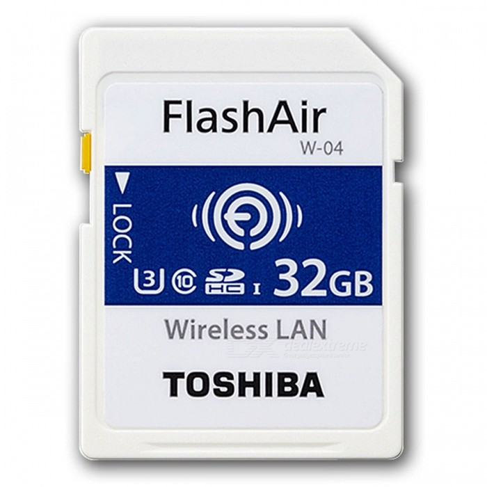 Buy Toshiba FlashAir Wireless LAN W-04 SDHC 32GB U3 Class10 Memory Card w/ R:90MB/s, W: 70MB/s with Litecoins with Free Shipping on Gipsybee.com