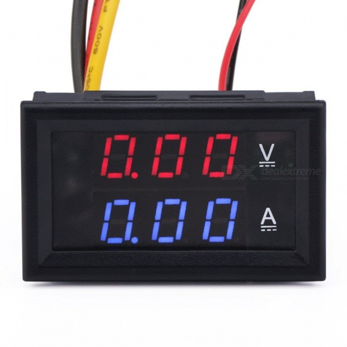 DC0-100V LED DC Dual Display Digital Current Voltmeter w/ Red and Blue Display