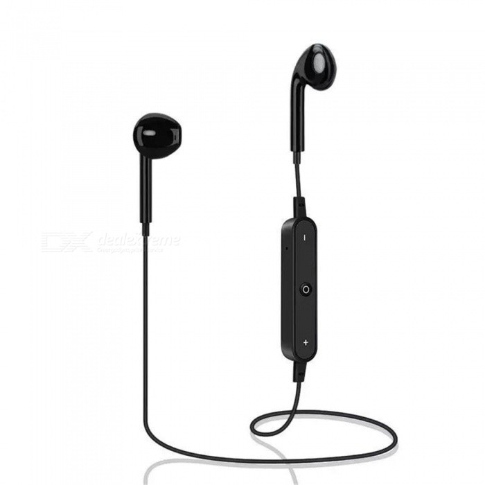 S6 Sport Stereo Bluetooth V4.1 Wireless Headphone Earbuds with Mic - Black