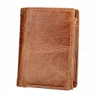 Folding-Short-Style-Anti-Theft-Anti-RFID-Mens-Leather-Wallet-Purse-Brown