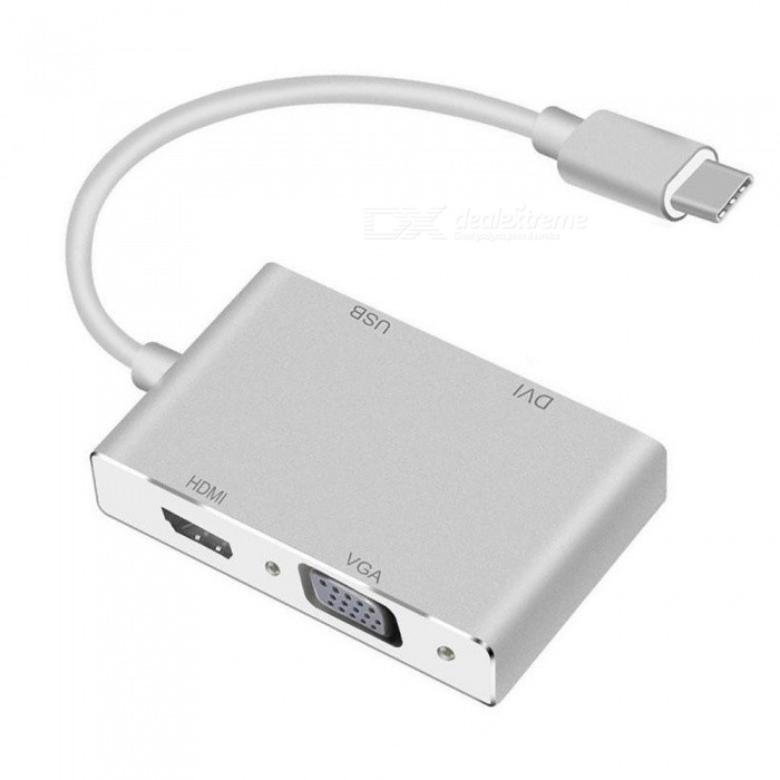 4 in1 USB 3.1 USB C Type C to HDMI VGA DVI USB 3.0 Hub Adapter Cable For MacBook