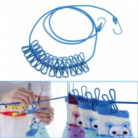 Outdoor Portable Home Adjustable 190cm Clothline Rope With 12pcs Anti-Skid Clothespin