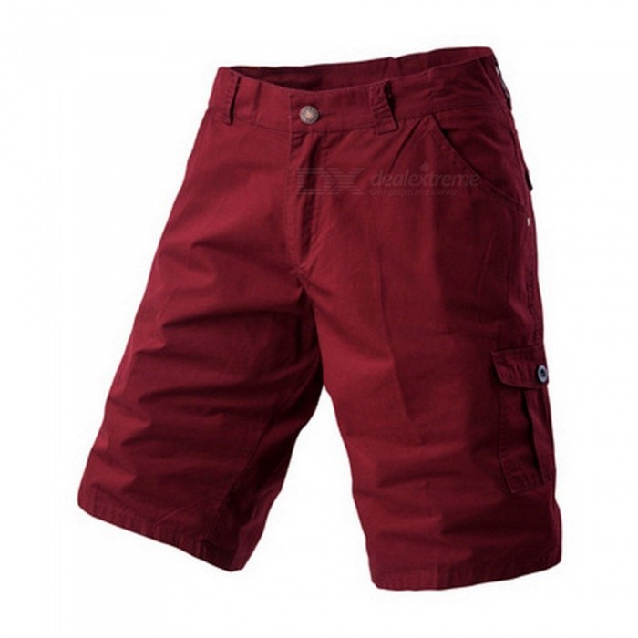 Men's Large Size Casual Multi-pocket Short Pants Cargo Shorts - Wine Red (Size 36)