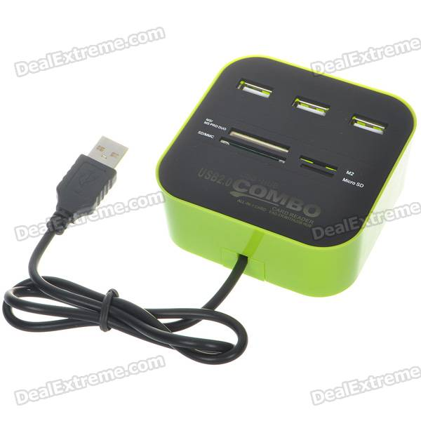 3-Port USB 2.0 Hub + MS/MS PRO DUO/SD/MMC/M2/Micro SD Card Reader (Black + Green)