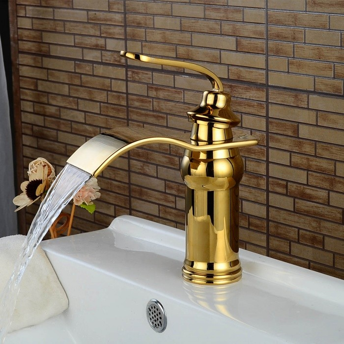 Brass Deck Mounted Ceramic Valve One Hole Ti-PVD, Bathroom Sink Faucet w/ Single Handle