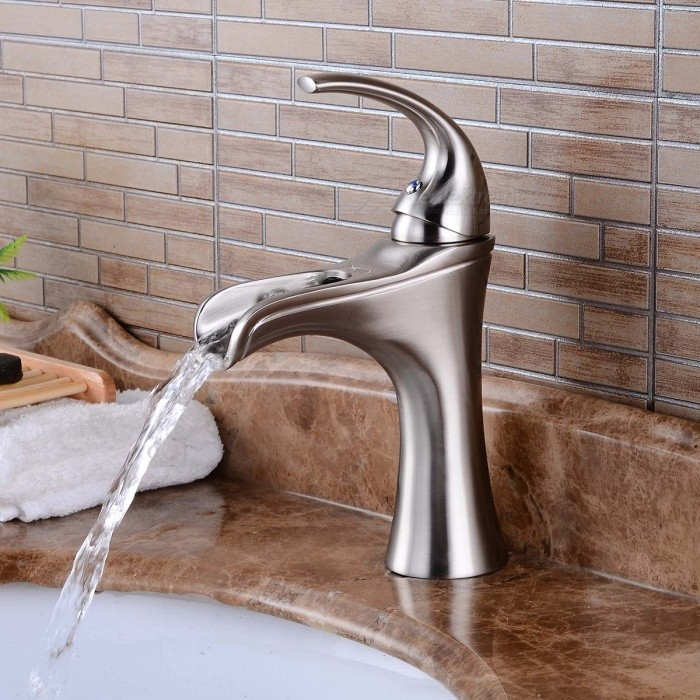 Brass-Deck-Mounted-Waterfall-Ceramic-Valve-One-Hole-Nickel-Brushed-Bathroom-Sink-Faucet-w-Single-Handle
