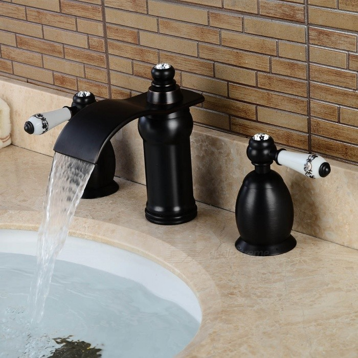 Brass-Waterfall-Ceramic-Valve-Three-Holes-Oil-rubbed-Bronze-Bathroom-Sink-Faucet-w-Two-Handles