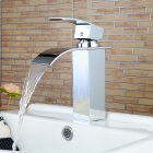 Brass Waterfall Deck Mounted Ceramic Valve One Hole Chrome, Bathroom Sink Faucet w/ Single Handle