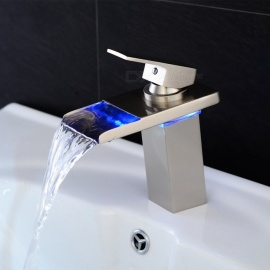 LED-RGB-Brass-Deck-Mounted-Ceramic-Valve-One-Hole-Nickel-Brushed-Bathroom-Sink-Faucet-w-Single-Handle