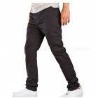 Summer Men's Solid Color Trousers Business Casual Straight-Leg Pants - Black (M)