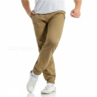 Summer Men's Cotton Casual Ankle Banded Pants Trousers - Khaki (2XL)