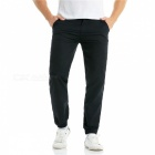 Summer Men's Cotton Casual Ankle Banded Pants Trousers - Black (L)