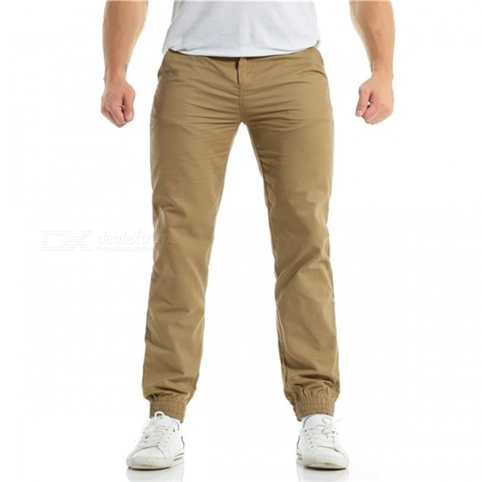 Summer Men's Cotton Casual Ankle Banded Pants Trousers - Khaki (M)