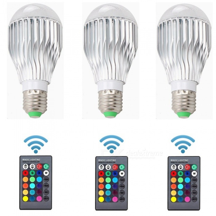ZHAOYAO-3Pcs-E27-10W-900LM-AC85-265V-Dimmable-RGB-LED-Bulb-Light-w-Remote-Control