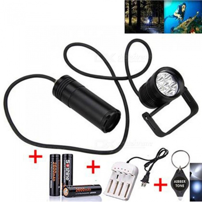 AIBBER TONE High Quality Underwater 6x L2 LED SCUBA Diving Flashlight Torch Light + 3 x Soshine 18650 2600mAh Battery + Charger