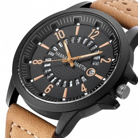 Hannah-Martin-1601-Fashion-Mens-PU-Leather-Strap-Quartz-Analog-Wrist-Watch-with-Date-Display-Brown-2b-Black