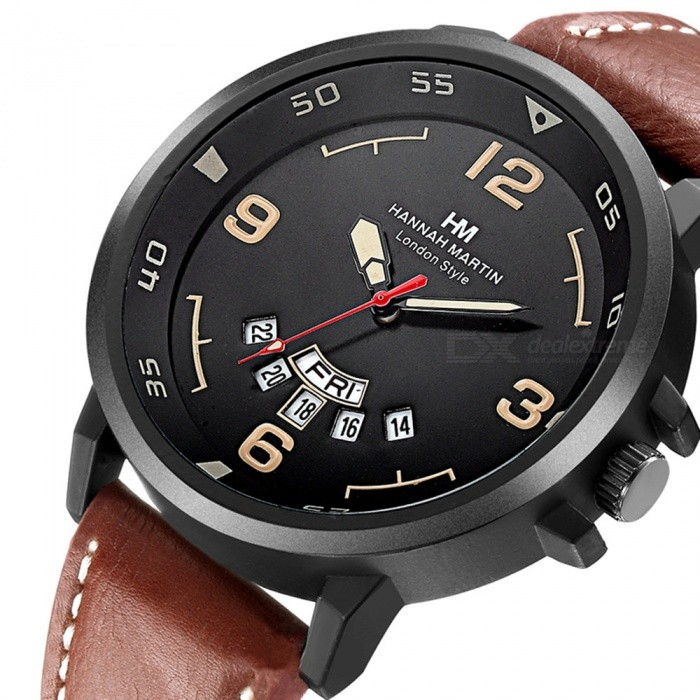 Hannah-Martin-1602-Fashion-Mens-PU-Leather-Strap-Quartz-Analog-Wrist-Watch-with-Date-Display-Brown-2b-Black