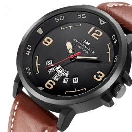 Hannah Martin 1602 Fashion Men's PU Leather Strap Quartz Analog Wrist Watch with Date Display - Brown + Black