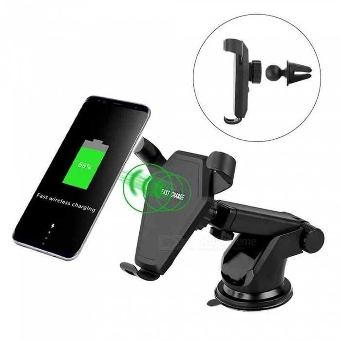 Car Air Vent Dashboard Holder Mount Charger with Qi Fast Wireless Car Charging