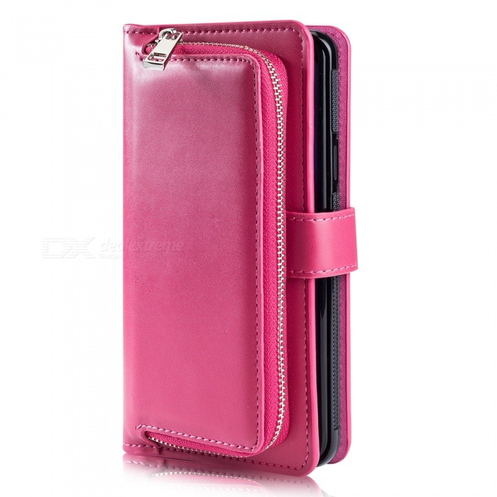 Measy Fashionable PU Leather Wallet Case with Zipper Bag for Samsung Galaxy S9 Plus - Deep Pink