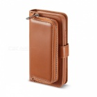 Measy-Fashionable-PU-Leather-Wallet-Style-Case-with-Zippered-Bag-for-Samsung-Galaxy-S8-Brown