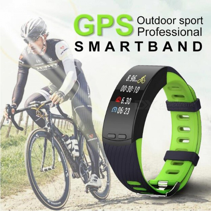 P-TOP P5 GPS Fitness Smart Bracelet Wristband w/ Heart Rate Monitor, Phone Activity Tracker - Green + Black