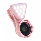 OJADE-3-in-1-Clip-on-LED-Selfie-Fill-Light-4K-HD-Wide-angle-Macro-Lens-Filter-Pink
