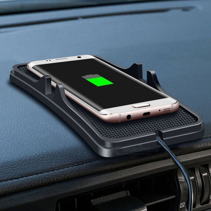 Skid-proof QI Wireless Mobile Phone Charger Launching Pad Universal Car Stand - Black