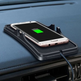 Skid-proof-QI-Wireless-Mobile-Phone-Charger-Launching-Pad-Universal-Car-Stand-Black