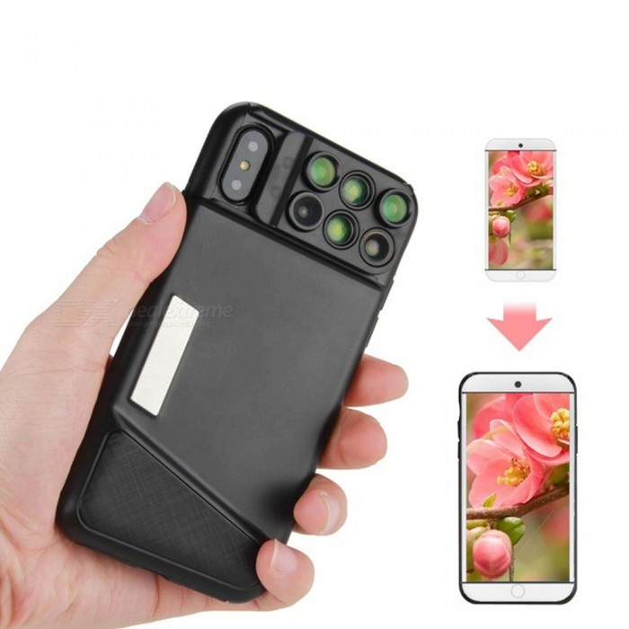 6-in-1 Fisheye Wide Angle Camera Macro Lens Phone Case for IPHONE X - Black