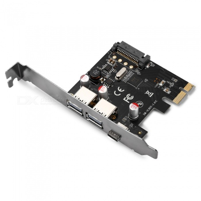 Buy PCI-e to USB 3.1 Type-C + 2 USB 3.0 Type-A Expansion Card - Black with Litecoins with Free Shipping on Gipsybee.com