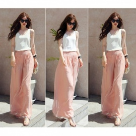 Ladies Spring and Summer Polyester High-Waisted Wide-Leg Trousers Bohemian Beach Holiday Pants - Pink