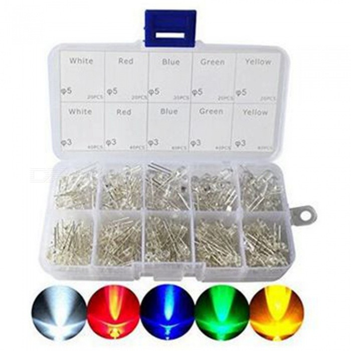 ESAMACT300PC/Lot 3mm 5mm Led Kit with Box, Mixed Color Red Green Yellow Blue White Light Emitting Diode Assortment