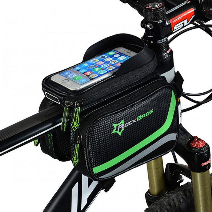 "ROCKBROS 5.8"" Rainproof Bicycle Bag, Bike MTB Front Head Bag, Top Tube Double Pouch Cycling Pannier"