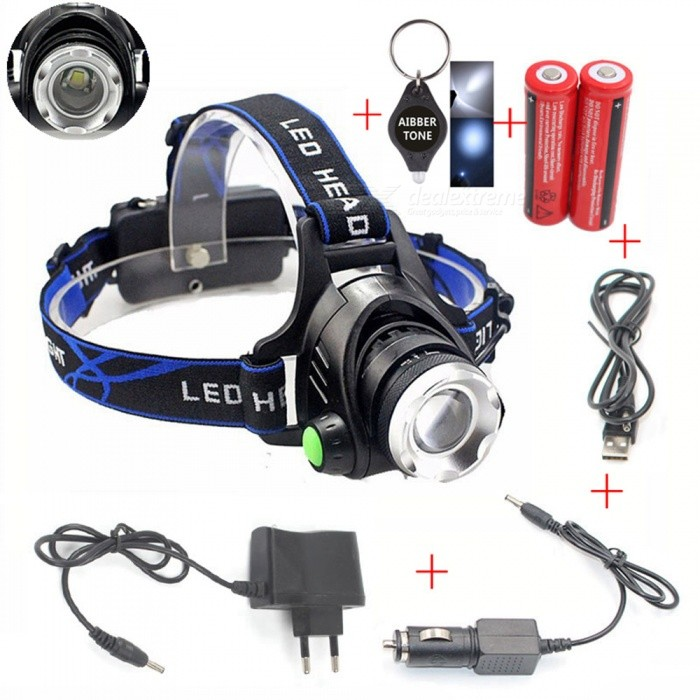 AIBBER TONE LED Headlamp Headlight Head Flashlight Aluminum 900lm T6/L2 Zoom Adjustable Head Lamp 18650 Battery Front Light