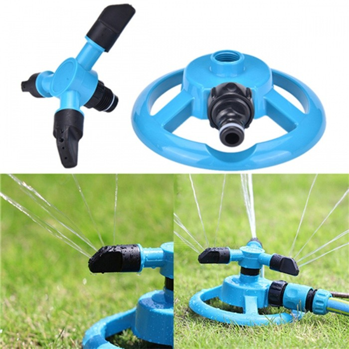 Buy 360 Degree Rotary Three Arm Garden Lawn Watering Head Water Sprinkler - Blue with Litecoins with Free Shipping on Gipsybee.com