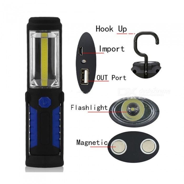 Buy ZHAOYAO Professional Work LED Flashlight Torch, Inspection Light with 2 Strong Magnets for Auto Repair - Blue with Litecoins with Free Shipping on Gipsybee.com