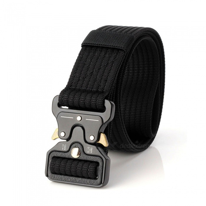 Buy Stylish Vertical Pattern Tactical Nylon Belt for Army Fan - Black with Litecoins with Free Shipping on Gipsybee.com