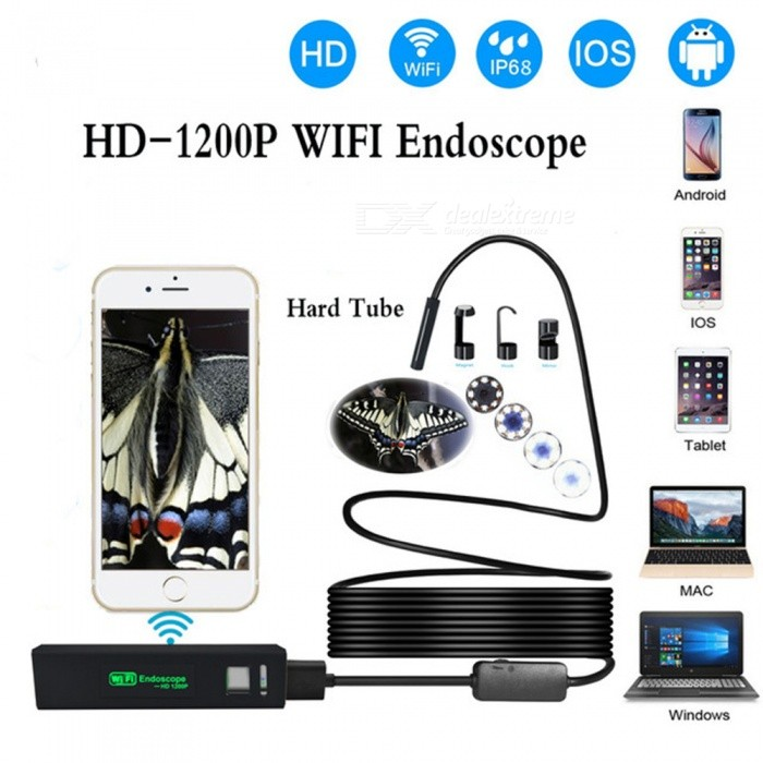 ESAMACT Wi-Fi Smart Phone Endoscope Camera, 1200P HD 8mm Android IOS Borescope, Waterproof Hard Tube Inspection Endoscope Camera