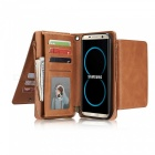 Measy-Fashionable-PU-Leather-Wallet-Case-with-Zipper-Bag-for-Samsung-Galaxy-S8-Brown