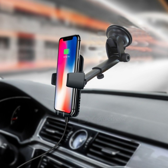 C5 Car Qi Fast Charging Pad Car Mount Air Vent Phone Holder Charger for Mobile Phone - Black