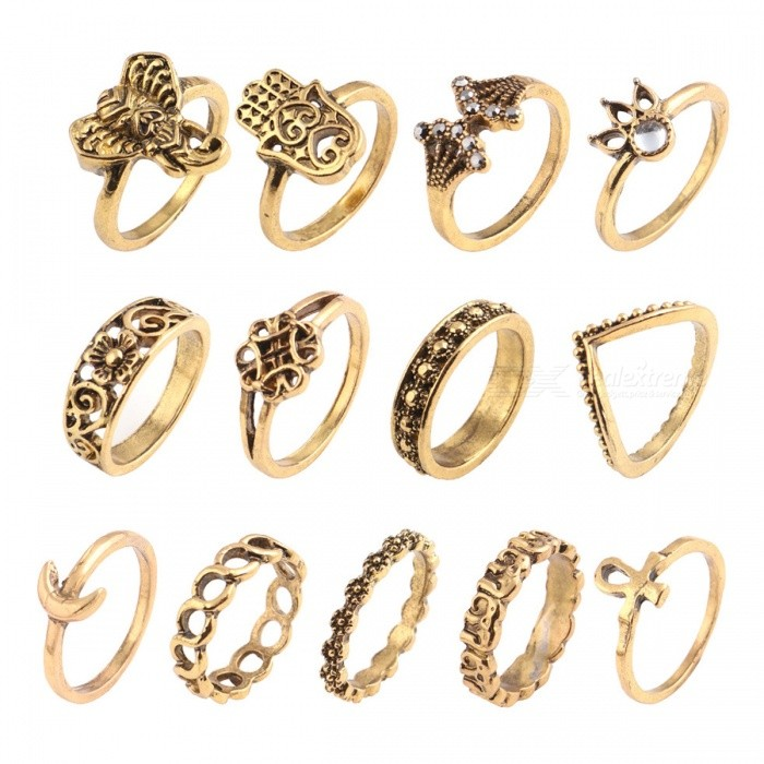 Vintage Style 13PCS Rhinestones Decorated Crown Elephant Moon Hands Carved Ring Set