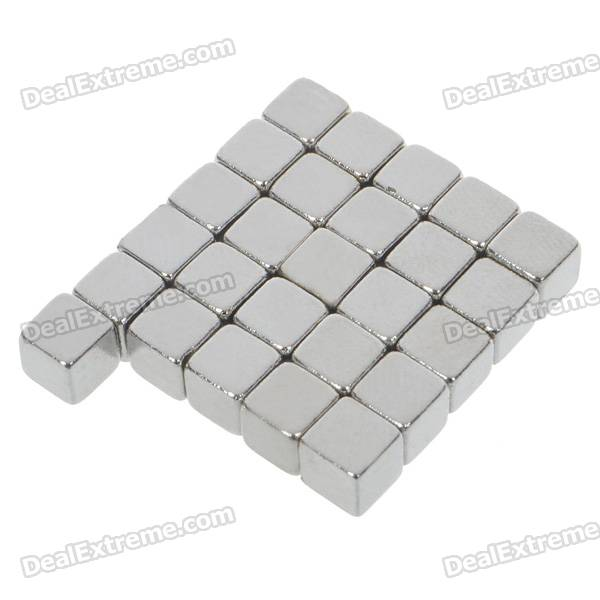 Super-Strong Rare-Earth Square RE Magnets - Silver (50PCS)