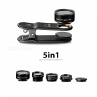 OJADE-5-In-1-Clip-On-198-Degree-Fish-Eye-Lens-2b-063X-Wide-Angle-15X-Macro-Lens-Universal-HD-Camera-Lens-Kit