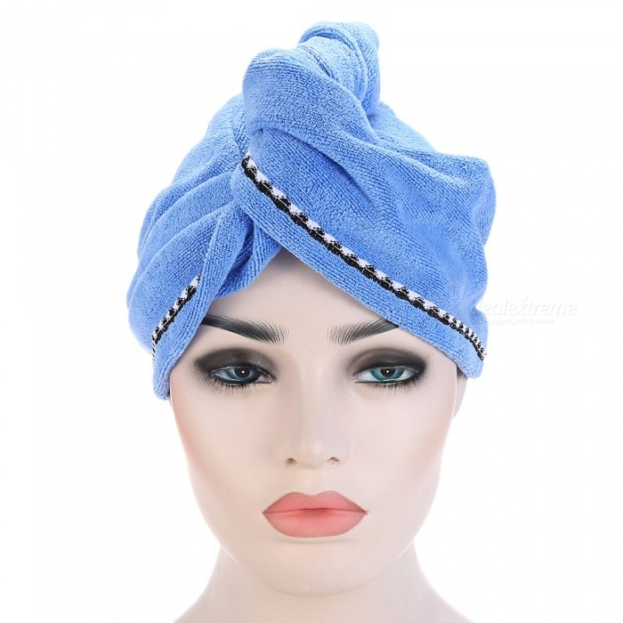 Super Fine Fiber Soft Water Absorbing Shower Hair Wrapping Cap - Blue