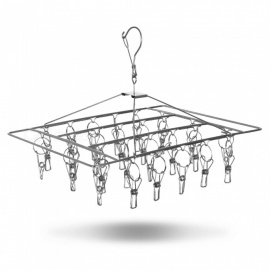 Stainless Steel Single Layer Thicken Clothes, Socks, Towel 26 Clips Drying Hanger - Silver