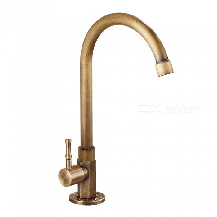 Antique Brass Single Cold Deck Mounted Ceramic Valve One Hole, Kitchen Sink Faucet w/ Single Handle
