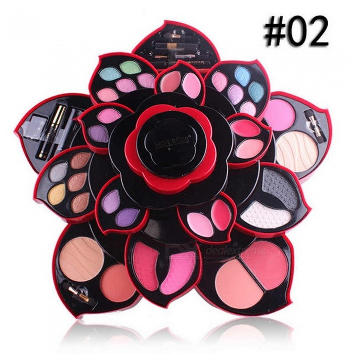 Miss Rose A171 Big Size Plum Blossom Style Rotating Beauty Cosmetic Makeup Eyeshadow Box Case Kit